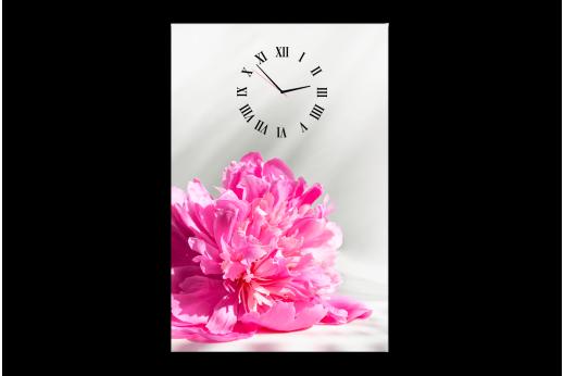 Одномодульная  картина с часами розовый пион