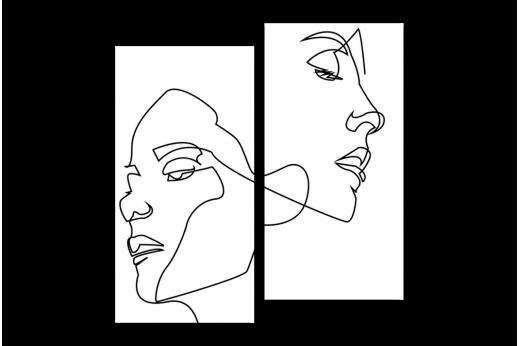 Модульная картина Пара линией